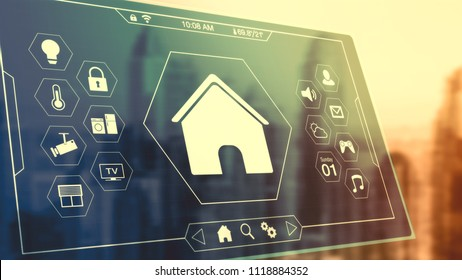 futuristic interface for remote control of a smart house (3d render)