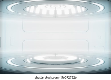 Futuristic interior with empty stage. Modern Future background. Technology Sci-fi hi tech concept. 3d rendering