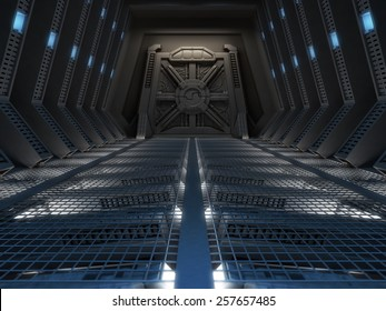 Futuristic interior of a space station