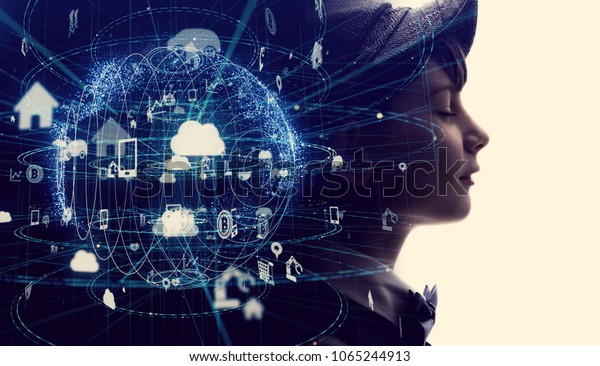 Futuristic internet communication concept.