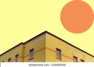 a futuristic landascape, with a geometric facade, orange mood pastel colors