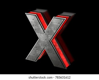 Futuristic letter X - black metallic extruded letter with red light outline glowing in the dark 3D render