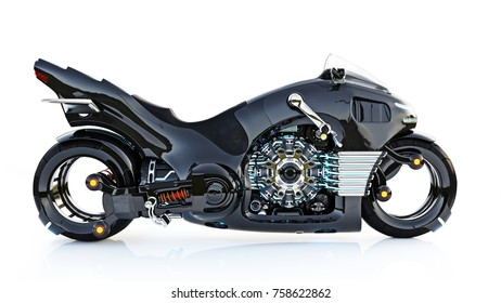 Futuristic light cycle. Motorcycle is on an isolated white background. 3d rendering