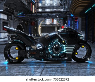 Futuristic light cycle on display. Motorcycle is displayed with a futuristic urban background.3d rendering