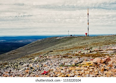 A futuristic looking telecommunications tower on top of the Yllas fjell in the Finnish Lapland. The scene looks a bit uninhabitated, but there are a lot of tourists needing telecommunications.