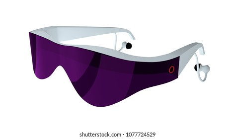 futuristic looking virtual augmented reality glasses. 3d render