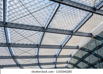 Futuristic louvered roof construction. Sunshade roof.