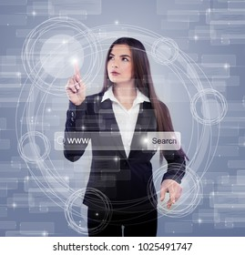 Futuristic Media Sharing Concept with Young Bisiness Woman in Black Suit, Technology Background
