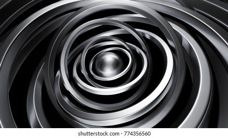 Futuristic metallic black background with rings. 3d illustration, 3d rendering.
