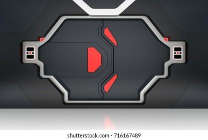 Futuristic metallic door or gate 3D render