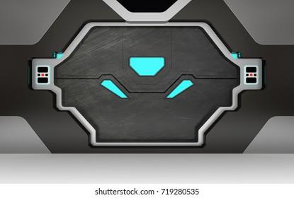 Futuristic metallic door or gate with blue lights 3D render & Futuristic Door Images Stock Photos \u0026 Vectors   Shutterstock