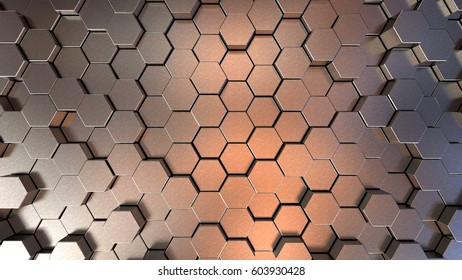 Futuristic metallic surface with hexagons. 3d rendering