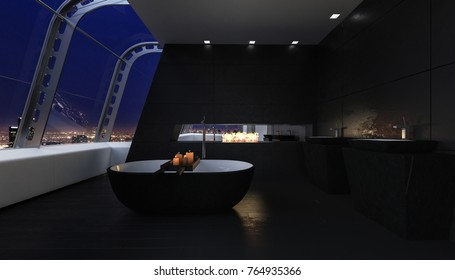 The futuristic, modern bathroom of a penthouse, dimly lit by candles, opens to expansive views of the night sky and city.