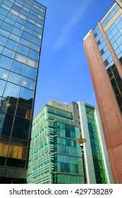 Futuristic modern glass skyscrapers in the city of Birmingham, England, UK
