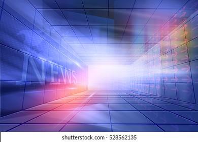 Futuristic, Modern, High tech  Enclosed News Studio Background, News Text in Perspective Wall.