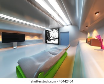 Futuristic modern interior with monitor,sofa and lighting