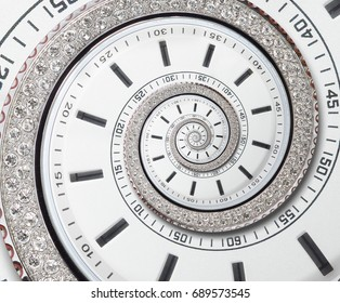 Futuristic modern white clock watch abstract fractal surreal spiral. Watch clock unusual abstract texture pattern fractal background. Modern stylish abstract fractal spiral effect clock diamond watch