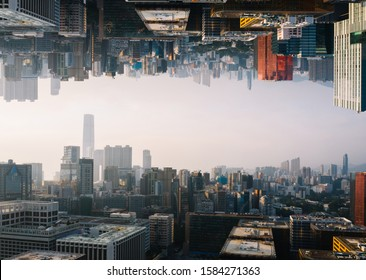 Futuristic multiverse world concept. Downtown with skyscrapers skyline under and cityscape over. Two parallel worlds. Alternative reality dimension