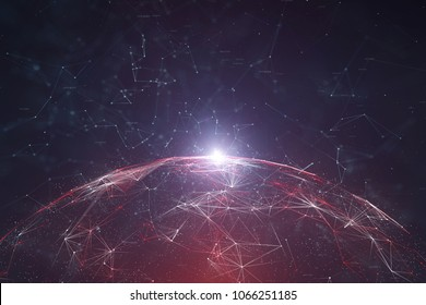Futuristic network data sphere with lines and dots illustration background. View from space. Selective focus used.