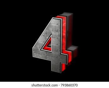 Futuristic number 4 - black metallic extruded letter with red light outline glowing in the dark 3D render