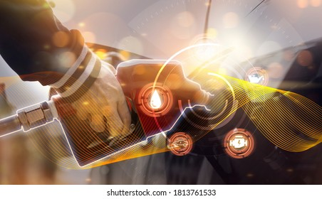 Futuristic oil fueling concept modern icon, refilling refueling car vehicle transportation station, power energy restoring, close up man using oil gasoline pump at petrol gas station resource energy