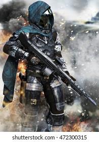 Futuristic ranger space Marine surveying the Battlefield . 3d rendering