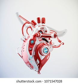 Futuristic red-white cyborg heart, 3d rendering on light background