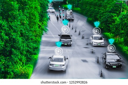 Futuristic road genius for intelligent self driving cars,Artificial Intelligence system,Detecting objects,changing wrong lanes car,concept future vehicle safety Driver cyber storage technology