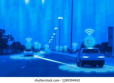 Futuristic road genius intelligent self driving smart cars,Artificial Intelligence system,Detecting objects,changing wrong lanes car,concept future vehicle safety accident reduction highway and city