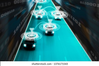 Futuristic road genius intelligent self driving smart cars,Artificial Intelligence system,Sync driving personal data for processing in accident reduction,concept future vehicle safety highway and city