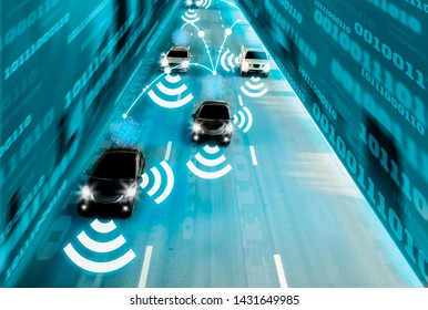Futuristic road genius intelligent self driving smart cars,Artificial Intelligence system,sensing and wireless network communication,concept future vehicle safety accident reduction highway and city