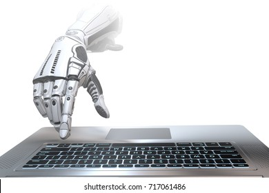 Futuristic robot hand typing and working with laptop keyboard. Mechanical arm with computer. 3d render on gradient gray background