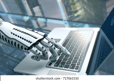 Futuristic robot hand typing and working with laptop keyboard. Mechanical arm with computer. 3d render on white background