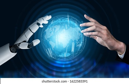 Futuristic robot technology development, artificial intelligence AI, and machine learning concept. Global robotic bionic science research for future of human life.