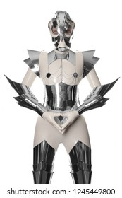 futuristic robot woman standing in white latex costume with steel corset and armour alone isolated