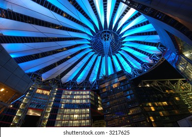 Futuristic Roof of the Sony Center in Berlin illuminated at Night