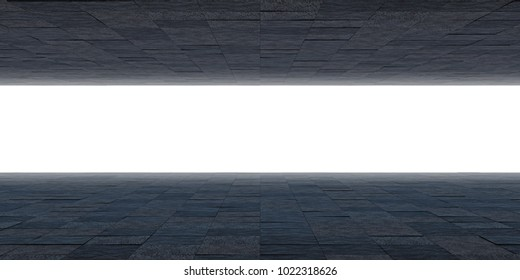 Futuristic room. The ceiling and the floor are made of tiles and a horizontal luminous strip in front. 3D Render