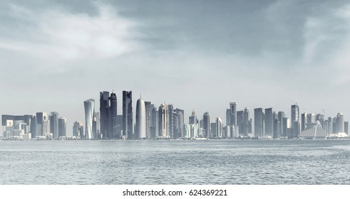 Futuristic skyline of Doha,Qatar..Doha is a city on the coast of the Persian Gulf, the capital and largest city of the Arab state of Qatar.