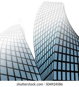 futuristic skyscraper towers 3d illustration