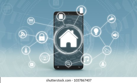 futuristic smart home interface with a network of icons, a smartphone on background (3d render)