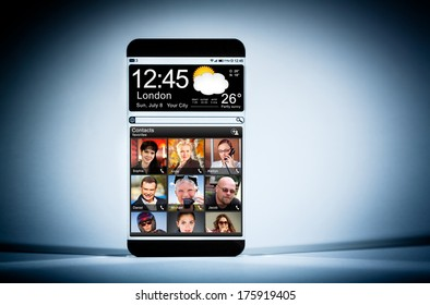 Futuristic Smart phone (phablet) with a transparent display on a blue background. Concept actual future innovative ideas and best technologies humanity.