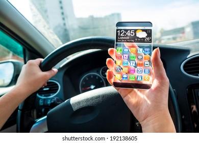 Futuristic Smart Phone Phablet Transparent Display Stock Photo (Edit