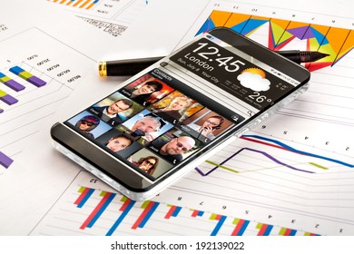 Futuristic Smart phone (phablet) with a transparent display. Concept actual future innovative ideas and best technologies humanity.