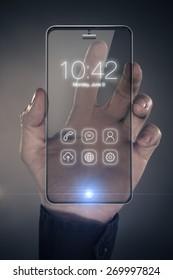 Futuristic smart phone with transparent display