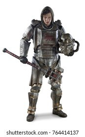 Futuristic soldier in steel armor with the cyber punk hummer. Isolated on white.