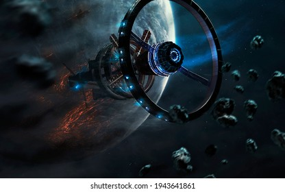 Futuristic space station in deep space. Sci-fi wallpaper. This image elements furnished by NASA