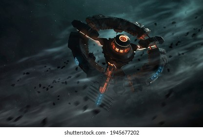 Futuristic space station orbiting planet. Sci-fi wallpaper. This image elements furnished by NASA