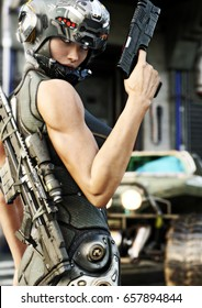 Futuristic special operation female posing before going out on a mission. 3d rendering