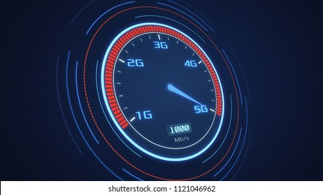 futuristic speedometer with the pointer on 5G technology, concept of fast mobile network (3d render)