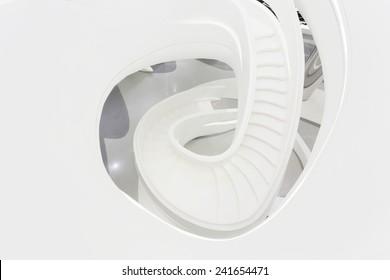 futuristic staircase in modern office building interior